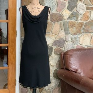S. L. Fashions black draped shoulder dress size 14